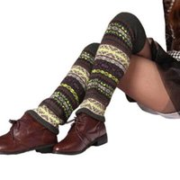 Wholesale stockings online - New Knit Camouflage Pattern Long Socks Stocking Boot Loose Leg Warmers Cuffs for Women Drop Ship