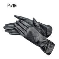 ingrosso guanti di moda invernali in pelle nera-PUDI GL809 Womens Genuine Leather black gloves 2018 Winter new Guanti moda in vera pelle di pecora