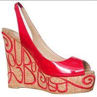 cuñas 12cm tacón al por mayor-Sexy Nupcial Red Bottom Marpop 12cm Cuñas Bordados Tacones Sandalias Mujer Peep Toe Charol Slingback Wedding Party Zapatos