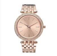 tops de diseño para mujer al por mayor-38mm ultrafino señoras diseño simple completo reloj de diamantes para mujer diseñador de lujo Top famosa marca pulsera de oro rosa relojes de acero inoxidable 11