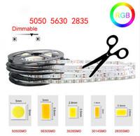 ingrosso 12v dc strisce luci-LED Strip Light High Bright 5M SMD2835 5050 5630 DC 12V 60LEDs / M Nastro flessibile Nastro impermeabile Decor Luci LED