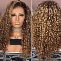 ingrosso piccole parrucche per le donne nere-Parrucca femminile piccoli capelli ricci africani sfumatura marrone capelli lunghi ricci tinti parrucca in fibra chimica per capelli parrucche a onda profonda da donna