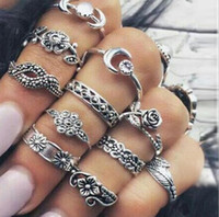 Wholesale turkish turquoise jewelry - 11 pcs 1 set Leaf Totem Ring Sets Silver Boho Beach retro Turkish Punk Knuckle Ring Turquoise Geometric Ring Jewelry Accessories KKA4998