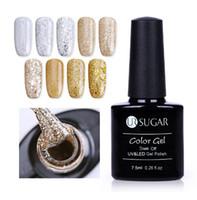diamants super or achat en gros de-Champagne Or Gel d'argent 7.5ml Super Shine Diamant Platine Manucure Soak Off Gel UV Vernis Vernis