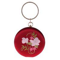 сумочки для ручек сцепления оптовых-New Vintage Round Wristlets Embroidered Flowers Women Evening Clutch Bag Crystal Round Handle Solid Lady Party Flap Handbag Hasp