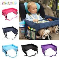 дети из учебного стола оптовых-Baby Car Table   Study Desk Kid Cup Holder Waterproof Children Toy Table Portable Travel Auto Car Safety Seat Chair