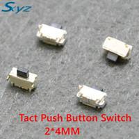 interruptor pir 24v venda por atacado-50 Pcs 2x4x3.5mm SMT Tact SMT Tactile Botão Interruptor SMD momentânea Montagem MP3 Momentary MP3 MP4 MP5 Tablet PC interruptor botão de energia