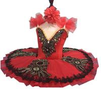 traje de cisne adulto venda por atacado-New lantejoula profissional ballet tutu saia criança vermelha adulto lago de cisne trajes de dança para meninas pancake tutu