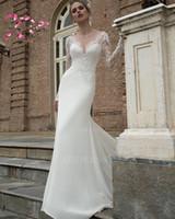 vestido de noiva de seda com crepe venda por atacado-Vestido De Noiva Tribunal Trem de Renda Manga Comprida Elastic Silk-Like Vestido De Noiva De Cetim 2018 Bonito V Neck Vestidos de Noiva Plus Size