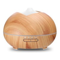 Wholesale Wooden Aroma Diffuser - 400ml Wood Grain Humidifier Wooden Air Humidifier Ultrasonic Humidifier Aroma Essential Oil Diffuser Portable Mist Maker with 7-Color LED