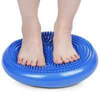 denge diskleri toptan satış-Dayanıklı yoga masaj minderi mat evrensel şişme yoga wobble stabilite denge disk masaj yastığı mat yoga spor topları + b