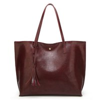 черная сумочка из кожи кисти оптовых-Oil Wax Women Leather Handbags Lady Large Tote Bag Female Pu Shoulder Bags Bolsas Femininas Sac A Main Brown Black Red Tassel