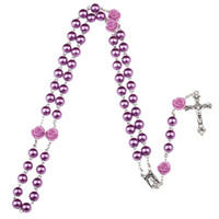 Wholesale glass drop pendants - Purple black pink Rosary Beads Catholic Rosary Necklace For Girls Women Glass Father Bead Crucifix Pendant Rose halloween drop ship 162669