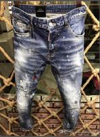 Wholesale jeans elastic foot - 18 fashion new men's jeans D2 fashion trend wild Slim feet micro elastic black leisure locomotive