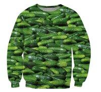 mens grafit hoodies toptan satış-Harajuku Mens Hoodies Ve Tişörtü 3D Baskılı Turşu Salatalık Grafik Streetwear Uzun Kollu Gömlek Sudaderas Hombre Tops