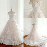 Wholesale inside dress - New 2018 Princess Wedding Dresses Turkey White Appliques Pink Satin Inside Elegant Bride Gowns Plus Size