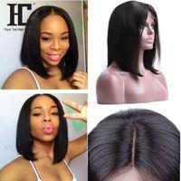 pelucas de cabello humano afroamericano al por mayor-Pelucas del pelo humano Bob Pelucas brasileñas del pelo humano del frente del cordón del pelo de Remy el 150% Pelucas cortas afroamericanas para las mujeres negras