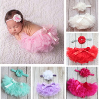 Wholesale pink ruffle bloomers - Summer baby bloomers girls Ruffle shorts and tops set kids pp pants + flower headbands boutique outfits toddler lace underwear diaper covers
