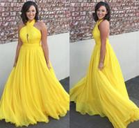 langes gelbes mutterschaftskleid großhandel-Sexy Gelb Chiffon Prom Kleider Halter Backless Falten Reich Taille Lange Formale Abendkleider Plus Size Mutterschaft Kleider MP158
