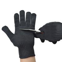 siyah kesme eldivenleri toptan satış-Emniyet Anti-skid Anti-Kesme Eldiven Palm Dotted Paslanmaz Çelik Tel Cut-Dayanıklı Eldivenler avcılık Siyah