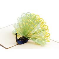 ingrosso biglietti augurali di anniversario fatti a mano-Biglietto di auguri fatto a mano di pop-up di pop-up 3D Peacock per anniversario di matrimonio di compleanno Buon Natale Ringraziamento San Valentino