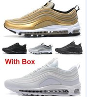 Wholesale free boxes - 97 OG Tripel White Metallic Gold Silver Bullet 97 Best quality WHITE 3M Premium Running Shoes with Box Men Women Free shipping
