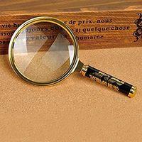 5 kat arttır toptan satış-80mm El 5X Büyüteç Büyüteç Büyüteç Lens Mükemmel Görüntüleme Küçük Yeni-Altın