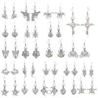 Wholesale Freshwater Pearl Drop Earrings - Love Wish Pearl Cages Locket Earrings Freshwater Pearls Oyster Pendant Earrings with Pearl Hollow Out Dangle Earrings drop ship 170859