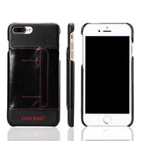 étui iphone carte de visite achat en gros de-Pour Iphone 7 Plus Case Protecton antichoc PC Business en cuir avec couvercle de fente pour carte avec emballage de vente au détail