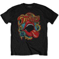 camisas oficiais venda por atacado-O Rolling Stones Tongue e Lábios Retro 70s Vibe Official Black Mens T-shirt