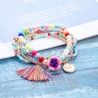 bunte acrylketten großhandel-4 Teile / satz Acryl Blume Quaste Charme Armband Frauen Einstellbar Bunte Perle Kette Armbänder für Frauen Mädchen Schmuck Party Geschenk