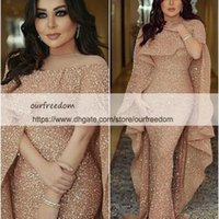 Wholesale Pink Carpet Roses - 2018 Shining Sequins Rose Gold Evening Dresses With Wrap Mermaid Sweep Train Dubai Style Arabic Formal Occasion Dresses Prom Party Gown