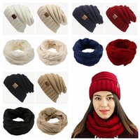 Wholesale Crochet Beanies Hats - CC Hat Scarves set Winter Warm Knitted Scarf And Hat Set Crochet Cap Beanie Scarf without CC tag 6 Colors LJJY1209