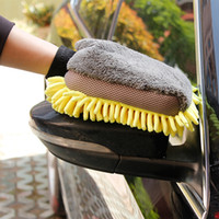 ingrosso guanti da microfibra chenille per la pulizia-Multi-funzione 3 in 1 Guanti autolavaggio Pulizia auto Pennello per dettagli in cera Ciniglia in microfibra Cura automatica Auto-styling impermeabile