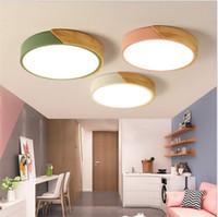 lámpara de techo para niños al por mayor-Macaron ultra-delgada lámpara de techo de 5 cm lámpara led de dormitorio redondo simple moderna sala de niños sala de estar lámpara de luz nórdica