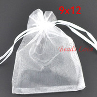 sacos de jóias de embalagem de organza venda por atacado-200 pcs Branco Embalagem de Jóias Sacos De Organza Drawable Sacos de Presente de Casamento 9 * 12 cm Jóias Bolsas Acessórios Barato W03194