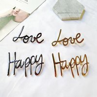 Wholesale Happy Anniversary Gifts - Unisex Europe and America New Fashion Gold Plated HAPPY LOVE Brooch Pin for Men Women Suit Lapel Pin for Party Wedding ER-996