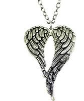 alas de angel tibetano al por mayor-Envío gratis 20 unids / lote tibetano Silve estilo Vintage alas de ángel encantos collar de cadena DIY