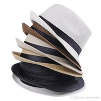 Wholesale solid straw fedora hat online - Straw Hats Cap Soft Fedora Panama Belt Hats Outdoor Stingy Brim Caps Spring Summer Beach Vogue Men Women Hat Kids Children A1020090