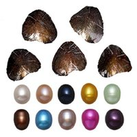 Wholesale Package Decorations - Oval Oyster Pearl 2018 new 7-10mm 20 mix color Fresh water Natural pearl Gift DIY Loose Decorations Vacuum Packaging Wholesale free shipping