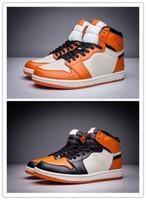 sports shoes 6829d 3d2ab Con Box 1 High OG Shattered Backboard Nero arancio da uomo scarpe da basket  1s sneakers sportive bianche donne formatori all ingrosso taglia 36-46