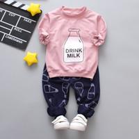 lã de zebra venda por atacado-New outono crianças roupas de algodão bonito manga comprida de lã calça bebê meninas menino conjuntos de roupas terno infantil conjunto de roupas infantis