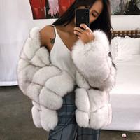 Wholesale fur strips resale online - autumn winter new faux fur coat long section stitching fur coat large size