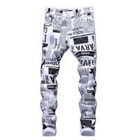 Wholesale jean printed mens online - Mens Designer Pencil Jeans Letter Printed White Denim Pants Fashion Club Clothing for Male Hip Hop Skinny Jeans