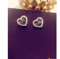 büyük kalp küpeleri toptan satış-Büyük marka Çivili M mektubu saplama küpe m serisi elmas kalp şeklinde küpe alaşım yüksek cilalı kulak tırnak