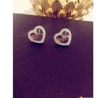 zinnlegierung nickel großhandel-große Marke Studded M Brief Ohrstecker m-Serie Diamant herzförmigen Ohrringe Legierung hoch poliert Ohr Nagel