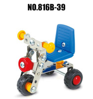 ingrosso bicicletta del metallo giocattolo-Assemblaggio 3D Veicoli di ingegneria dei metalli Kit modello Toy Car Baby Carrier Sedia a dondolo Bicycle Building Puzzle Construction Play Set