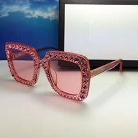 construir lentes venda por atacado-Luxo 0148 Óculos De Sol Para As Mulheres Grande Quadro Elegante Designer Especial com Rebites Quadro Lente Circular Embutida Top Quality Vem Com o Caso