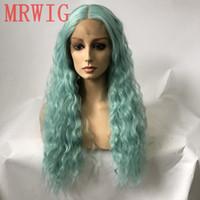 ingrosso parrucca riccia riccia lunga blu-Parrucca anteriore del merletto dei capelli veri dei capelli blu di MHAZEL capelli naturali 26inch ricci super-lunghi ricci della parte centrale riccia
