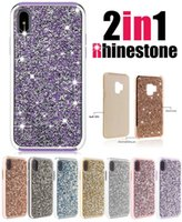 Wholesale diamond bumpers - Luxury Diamond Crystal Glitter Bling Hybrid 2 in 1 Soft TPU Cover Hard PC Bumper Case For iPhone X 8 7 6 5 SE Samsung S8 S9 Plus Note Note8